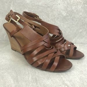 "Franco Sarto ""Giana"" Tan Wedge Sandals Size 11M"